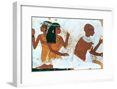Wall Painting, Detail of The Deceased Couple, Tomb of Nakht, Thebes Artist: Unknown-Unknown-Framed Giclee Print