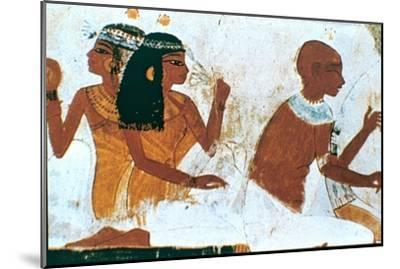 Wall Painting, Detail of The Deceased Couple, Tomb of Nakht, Thebes Artist: Unknown-Unknown-Mounted Giclee Print