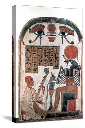 Ancient Egyptian stele, 11th-10th century BC. Artist: Unknown-Unknown-Stretched Canvas Print