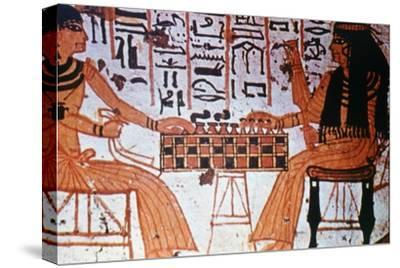 Chapel Interior, Nobles Playing Chess, Thebes, Egypt Artist: Unknown-Unknown-Stretched Canvas Print