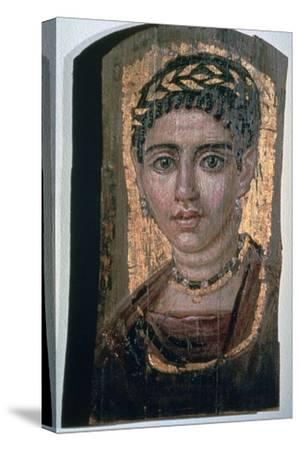 Mummy portrait of an Egyptian woman, c1st-3rd century. Artist: Unknown-Unknown-Stretched Canvas Print