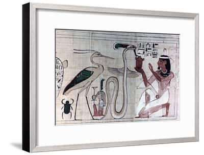 Ancient Egyptian papyrus of death kneeling before a snake. Artist: Unknown-Unknown-Framed Giclee Print
