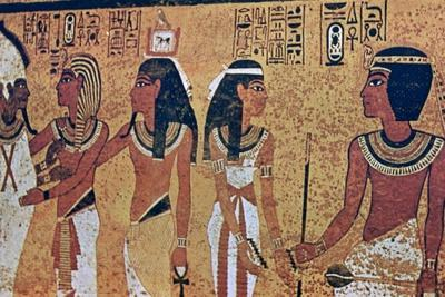 Wall paintings in the Tomb of Tutankhamun, Valley of the Kings, Luxor, Egypt. Artist: Unknown-Unknown-Framed Giclee Print