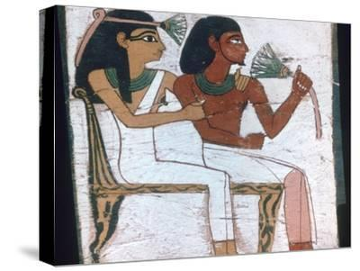 Detail of the decoration of a sarcophagus of The Lady of Madja, 18th Dynasty. Artist: Unknown-Unknown-Stretched Canvas Print