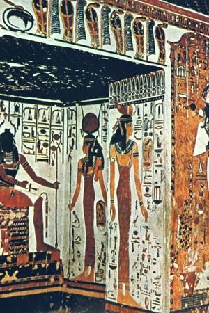 Wall Painting, Tomb of Nefertiti, Thebes, Egypt Artist: Unknown-Unknown-Framed Giclee Print