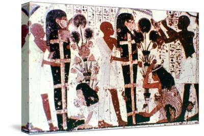Purification of Mummies, detail from a temple wall painting, Thebes, Egypt. Artist: Unknown-Unknown-Stretched Canvas Print