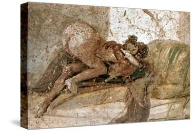 Erotic mural, Pompeii, Italy. Artist: Unknown-Unknown-Stretched Canvas Print