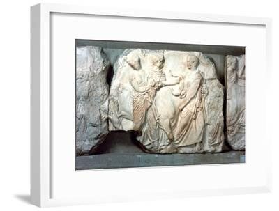 Heifers led to sacrifice, from the south frieze of the Parthenon, 447-432 BC. Artist: Unknown-Unknown-Framed Giclee Print