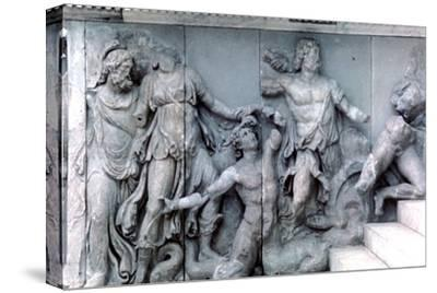 Detail from the Great Frieze of the Pergamon Altar, 180-159 BC. Artist: Unknown-Unknown-Stretched Canvas Print