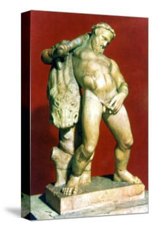 Roman statue of a drunken Hercules. Artist: Unknown-Unknown-Stretched Canvas Print