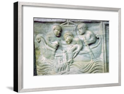 Early Christian depiction of Jonah and the Whale on a sarcophagus, 4th century. Artist: Unknown-Unknown-Framed Giclee Print