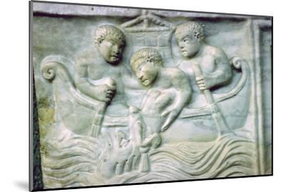 Early Christian depiction of Jonah and the Whale on a sarcophagus, 4th century. Artist: Unknown-Unknown-Mounted Giclee Print