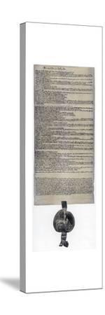 Magna Carta, English charter originally issued in 1215. Artist: Unknown-Unknown-Stretched Canvas Print