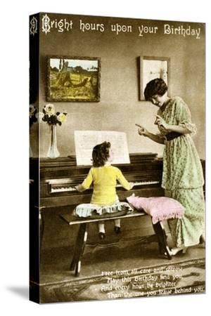 'Bright hours upon your Birthday', early 20th century. Artist: Unknown-Unknown-Stretched Canvas Print