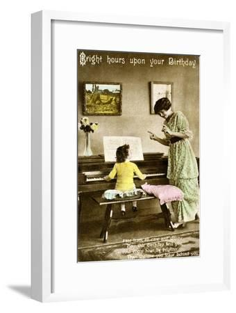 'Bright hours upon your Birthday', early 20th century. Artist: Unknown-Unknown-Framed Giclee Print