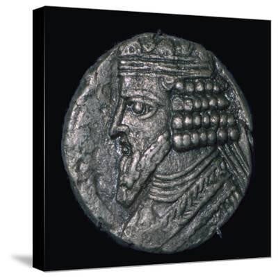 Silver tetradrachm of King Gotarzes II of Parthia (ruled 41 to 51), 1st century. Artist: Unknown-Unknown-Stretched Canvas Print