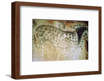 Paleolithic cave-painting of a horse and human hands from France. Artist: Unknown-Unknown-Framed Photographic Print