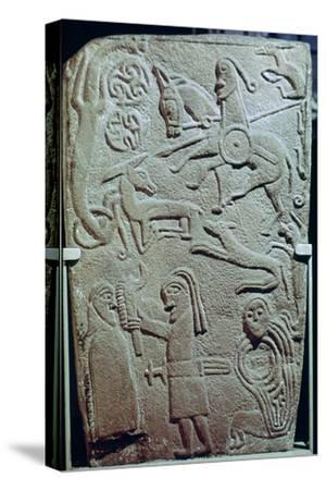 Detail of a Pictish Stone with biblical scenes, 9th century. Artist: Unknown-Unknown-Stretched Canvas Print