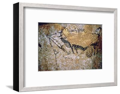 Paleolithic cave-painting of a Bison and Man from Lascaux. Artist: Unknown-Unknown-Framed Photographic Print