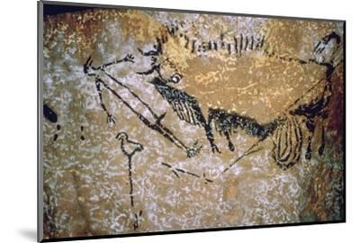 Paleolithic cave-painting of a Bison and Man from Lascaux. Artist: Unknown-Unknown-Mounted Photographic Print