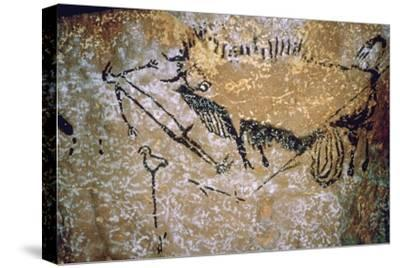 Paleolithic cave-painting of a Bison and Man from Lascaux. Artist: Unknown-Unknown-Stretched Canvas Print
