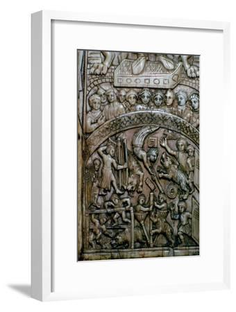 Detail of a leaf of a Byzantine ivory diptych showing men and bears at the circus.-Unknown-Framed Giclee Print
