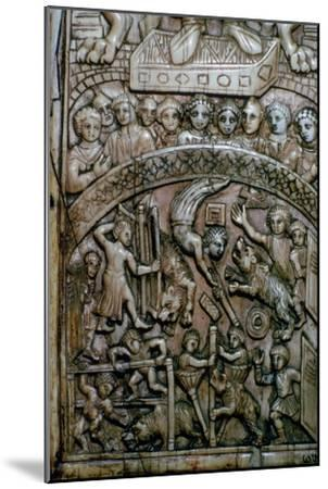 Detail of a leaf of a Byzantine ivory diptych showing men and bears at the circus.-Unknown-Mounted Giclee Print