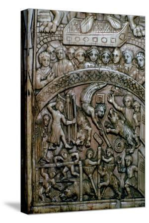Detail of a leaf of a Byzantine ivory diptych showing men and bears at the circus.-Unknown-Stretched Canvas Print