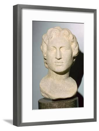 Roman copy of a lost Greek original bust of Alexander the Great, 350 BC. Artist: Unknown-Unknown-Framed Giclee Print
