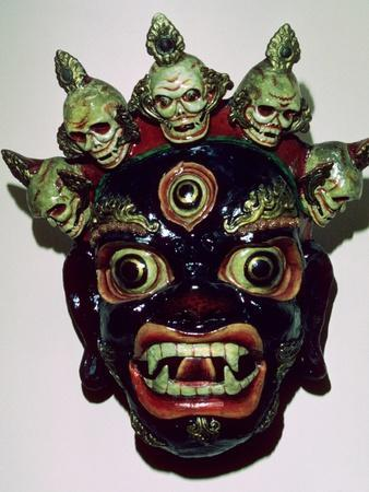 Tibetan mask used in ritual dance, c9th century. Artist: Unknown-Unknown-Framed Photographic Print