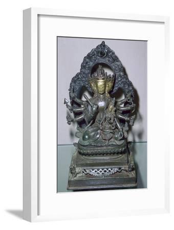 A bronze statuette of Bodhisattva Manjunatha, a Nepalese deity. Artist: Unknown-Unknown-Framed Giclee Print