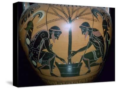 Vase-painting of Achilles and Ajax playing dice. Artist: Unknown-Unknown-Stretched Canvas Print