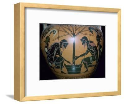Vase-painting of Achilles and Ajax playing dice. Artist: Unknown-Unknown-Framed Giclee Print