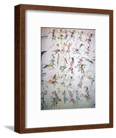 Depiction of the Grass Dance, drawn by Turning Bear, a Brule Sioux Chief of the Dakota Indians.-Unknown-Framed Photographic Print
