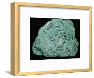 Chinese Quing Dynasty turquoise carving of a mountain, 18th century Artist: Unknown-Unknown-Framed Photographic Print
