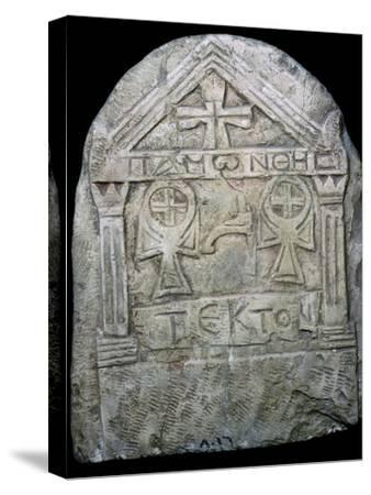 Transitional Coptic funerary Stela, 3rd Century. Artist: Unknown-Unknown-Stretched Canvas Print