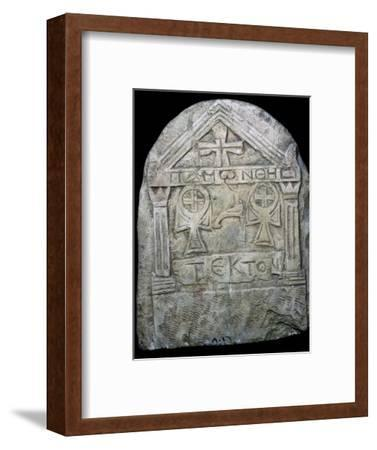 Transitional Coptic funerary Stela, 3rd Century. Artist: Unknown-Unknown-Framed Giclee Print