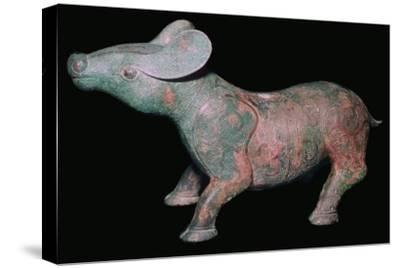 Chinese Bronze Tapir-like animal. Artist: Unknown-Unknown-Stretched Canvas Print