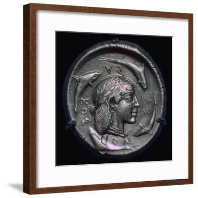 Decadrachm of Syracuse of the fifth century BC. Artist: Unknown-Unknown-Framed Giclee Print