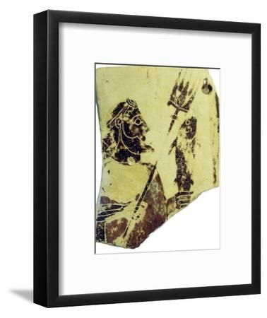 A Greek pottery fragment with the image of Poseidon. Artist: Unknown-Unknown-Framed Giclee Print