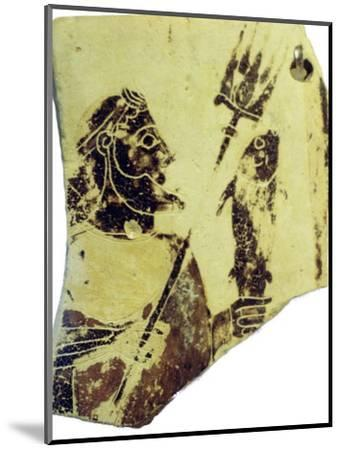 A Greek pottery fragment with the image of Poseidon. Artist: Unknown-Unknown-Mounted Giclee Print