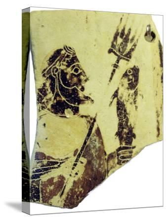 A Greek pottery fragment with the image of Poseidon. Artist: Unknown-Unknown-Stretched Canvas Print