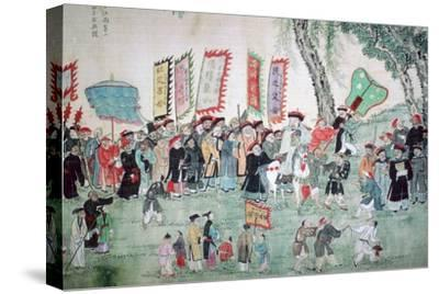 Chinese painting from a series about Chao Hsia. Artist: Unknown-Unknown-Stretched Canvas Print
