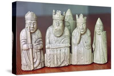 The Lewis Chessmen, (Norwegian?), c1150-c1200. Artist: Unknown-Unknown-Stretched Canvas Print