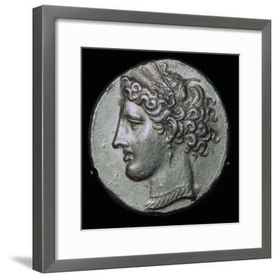 Gold tetradrachm with head of Tanit, 3rd century BC.-Unknown-Framed Giclee Print