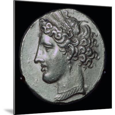 Gold tetradrachm with head of Tanit, 3rd century BC.-Unknown-Mounted Giclee Print