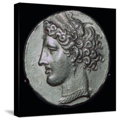 Gold tetradrachm with head of Tanit, 3rd century BC.-Unknown-Stretched Canvas Print