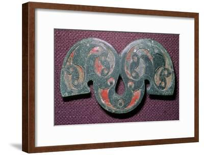 Celtic bronze enamelled mount from Polden Hill, Somerset. Artist: Unknown-Unknown-Framed Giclee Print