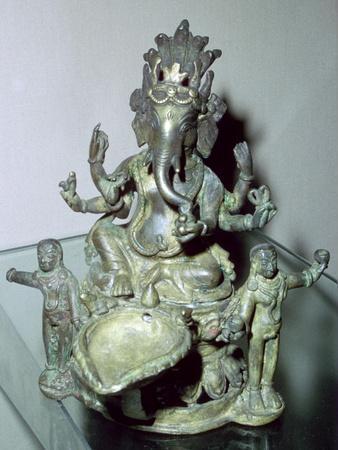 Bronze figure of the Hindu god Ganesh. Artist: Unknown-Unknown-Framed Giclee Print