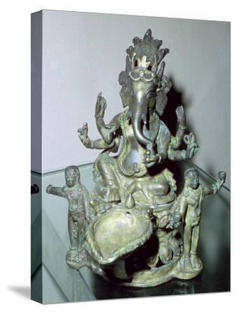 Bronze figure of the Hindu god Ganesh. Artist: Unknown-Unknown-Stretched Canvas Print